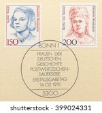 Small photo of ST. PETERSBURG, RUSSIA - MAR 30, 2016: A postmark printed in Germany, shows Sophie Scholl (1921-43), member of anti-Nazi resistance and Bertha von Suttner (1843-1914), Nobel Peace winner, circa 1991