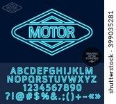 neon blue logotype for motor... | Shutterstock .eps vector #399035281