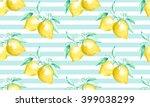 watercolor pattern with lemons... | Shutterstock . vector #399038299