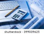 blueprints  calculator and... | Shutterstock . vector #399039625