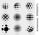 set of abstract dotted vector... | Shutterstock .eps vector #399065071