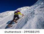 girl climbing the mountain on... | Shutterstock . vector #399088195
