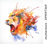 watercolor painting. roaring... | Shutterstock .eps vector #399097369