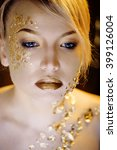 beauty blond woman with gold... | Shutterstock . vector #399126004