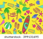 pattern with beach objects  an... | Shutterstock .eps vector #399131695