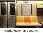 Small photo of New York, NY, USA - March 11, 2016: Inside of subway wagon: Colorful seats and inside of empty car: The NYC Subway is one of the oldest and most extensive public transportation systems in the world.