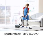cleaning concept. young woman... | Shutterstock . vector #399162997