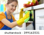 cleaning concept. woman washes... | Shutterstock . vector #399163531