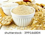 flour and bran oats in white... | Shutterstock . vector #399166804