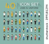 flat design  40 icon set of job ... | Shutterstock .eps vector #399181294