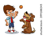 cartoon boy playing with his... | Shutterstock .eps vector #399188245