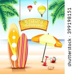 hanging arc sign for summer...   Shutterstock .eps vector #399198151