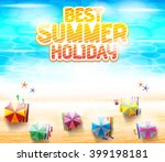 top view of beach resort with...   Shutterstock .eps vector #399198181