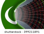 National flag of Pakistan with a large display of daily stock market price and quotations during depressed economic period. The fate and mystery of Islamabad stock market, tunnel / corridor concept.
