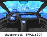 futuristic automobile cockpit ... | Shutterstock .eps vector #399216304