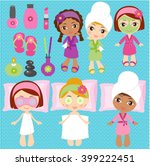 spa elements for kids spa party | Shutterstock .eps vector #399222451