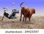 cowboy falling of a bucking... | Shutterstock . vector #39925597