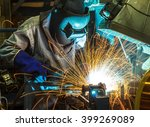 worker with protective mask... | Shutterstock . vector #399269089