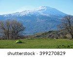 green tent and volcano etna... | Shutterstock . vector #399270829