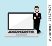 hipster businessman stand with... | Shutterstock .eps vector #399274879