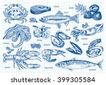 seafood menu  octopus  mussels  ... | Shutterstock .eps vector #399305584