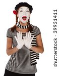 Portrait of a comedian dressed up as a mime, isolated over white background - stock photo