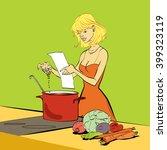 woman kitchen recipe soup... | Shutterstock .eps vector #399323119