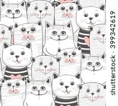 cute cats colorful seamless... | Shutterstock .eps vector #399342619