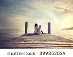 woman embracing sweetly his dog ... | Shutterstock . vector #399352039