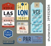vintage luggage tags  | Shutterstock .eps vector #399352834