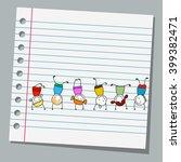 notebook paper happy kids... | Shutterstock .eps vector #399382471
