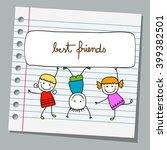 notebook paper happy kids... | Shutterstock .eps vector #399382501