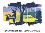 vector deer in forest on nature