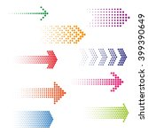 Set of dotted arrows. Halftone effect vector templates | Shutterstock vector #399390649