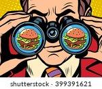 hungry man wants a burger | Shutterstock .eps vector #399391621