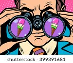 man wants ice cream   Shutterstock .eps vector #399391681