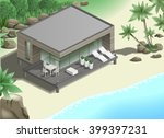 modern bungalow on the ocean in ... | Shutterstock .eps vector #399397231
