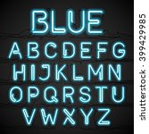 blue neon light alphabet with... | Shutterstock .eps vector #399429985