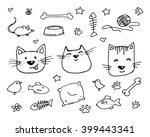 set of cats and various cat... | Shutterstock .eps vector #399443341