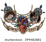 vintage tattoo template heart...