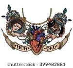 vintage tattoo template heart...   Shutterstock .eps vector #399482881