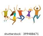 group of five happy friends ... | Shutterstock .eps vector #399488671