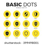 shield flat icons set with safe ... | Shutterstock .eps vector #399498001