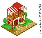 restaurant cafe isometrica... | Shutterstock .eps vector #399506389