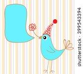 cute little bird with speech... | Shutterstock .eps vector #399543394