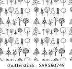 set of tree doodles seamless