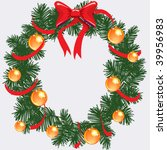 cristmas wreath with red tape | Shutterstock .eps vector #39956983