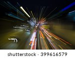 light trails on  highway at... | Shutterstock . vector #399616579