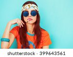 beautiful hippy girl portrait... | Shutterstock . vector #399643561