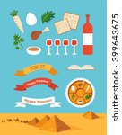 passover seder plate with flat... | Shutterstock .eps vector #399643675
